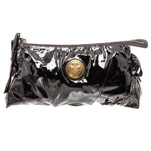 Gucci Black Patent Leather Hysteria Clutch Bag